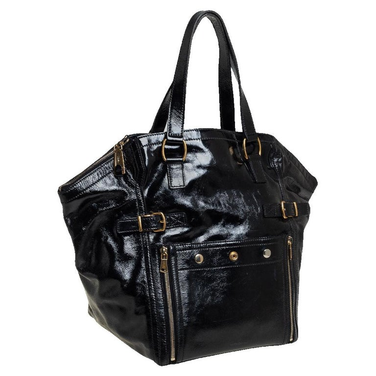 Yves Saint Laurent Black Patent Leather Large Downtown Tote In Good Condition For Sale In Dubai, Al Qouz 2
