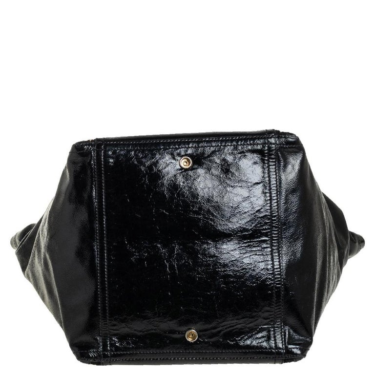 Women's Yves Saint Laurent Black Patent Leather Large Downtown Tote For Sale