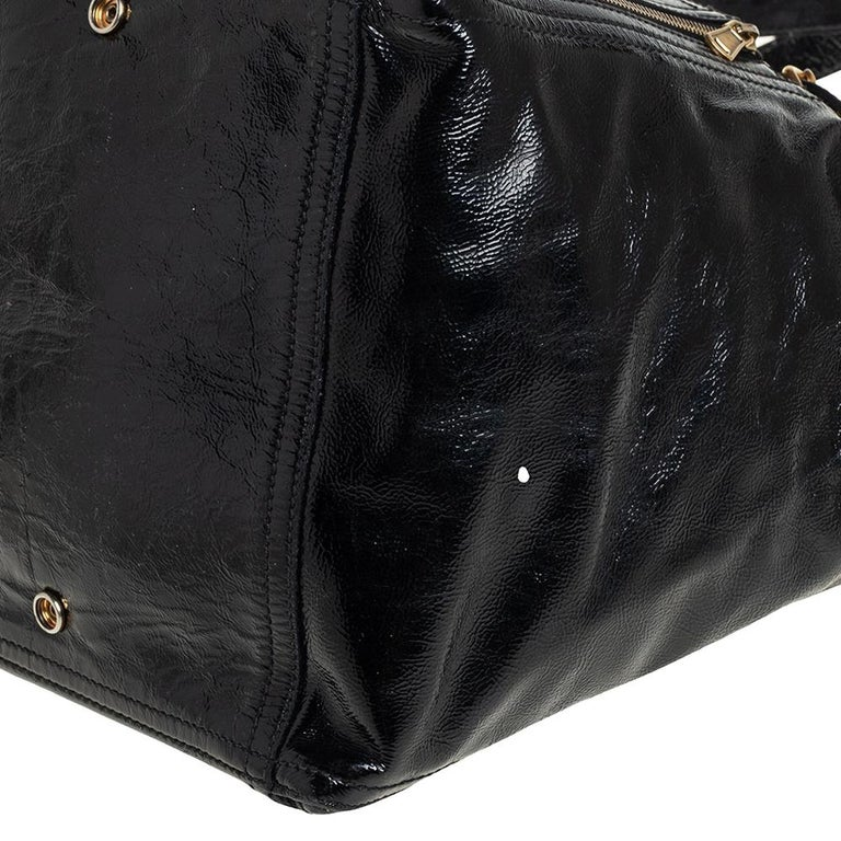 Yves Saint Laurent Black Patent Leather Large Downtown Tote For Sale 1