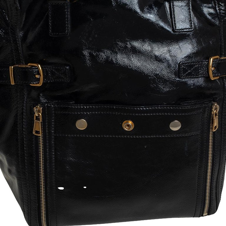 Yves Saint Laurent Black Patent Leather Large Downtown Tote For Sale 2
