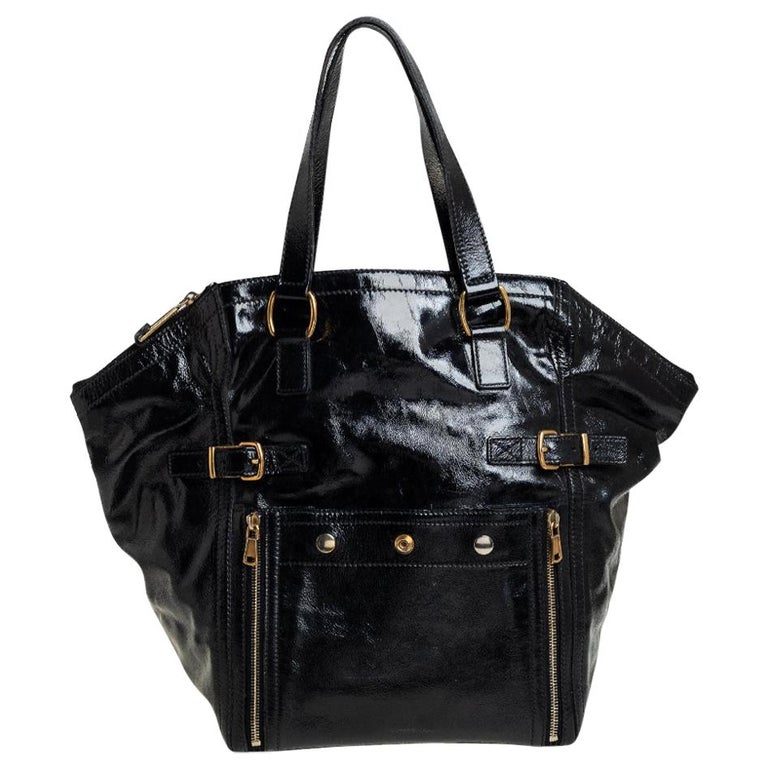Yves Saint Laurent Black Patent Leather Large Downtown Tote For Sale