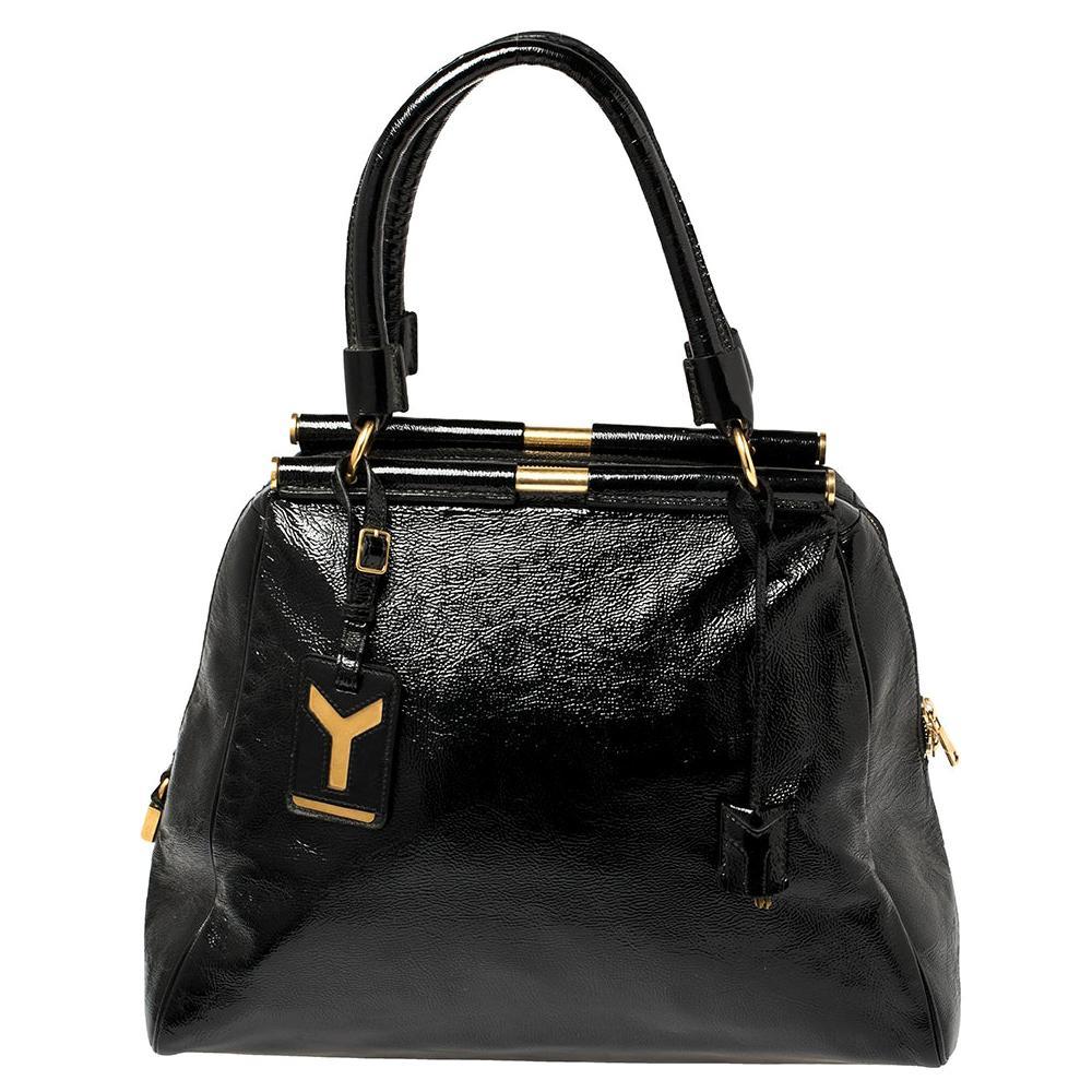 Yves Saint Laurent Black Patent Leather Medium Majorelle Tote