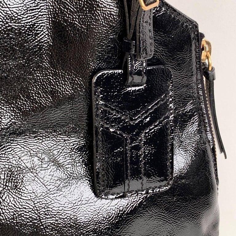 Women's Yves Saint Laurent Black Patent Leather Metropolis Tribute Tote Bag