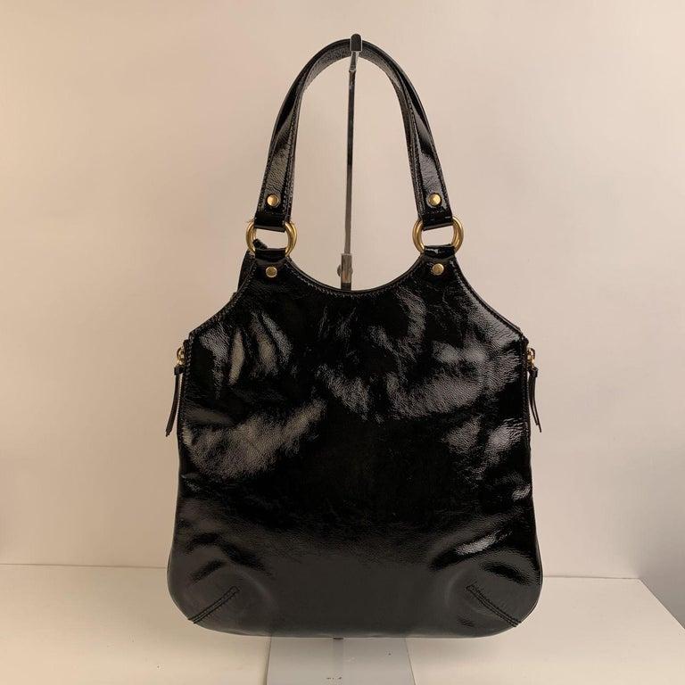 Yves Saint Laurent Black Patent Leather Metropolis Tribute Tote Bag 1