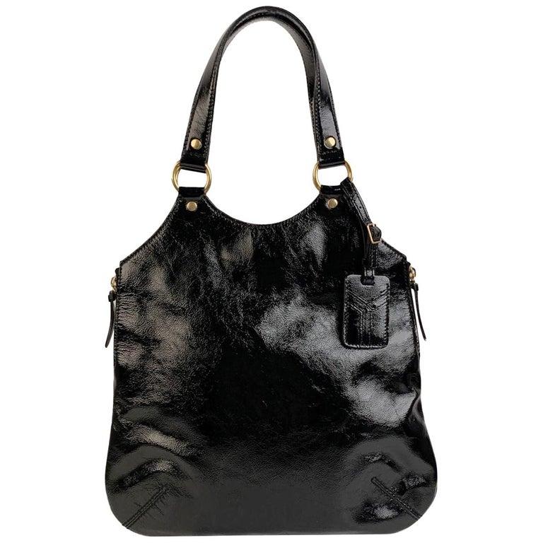 Yves Saint Laurent Black Patent Leather Metropolis Tribute Tote Bag