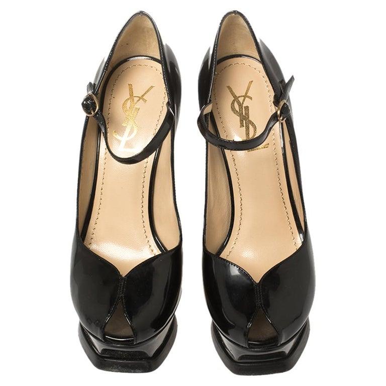 Yves Saint Laurent Black Patent Leather Peep Toe Platform Mary Jane Pumps Size 3 In Good Condition For Sale In Dubai, Al Qouz 2