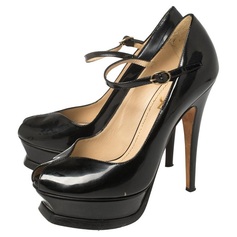 Women's Yves Saint Laurent Black Patent Leather Peep Toe Platform Mary Jane Pumps Size 3 For Sale