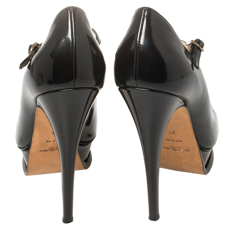 Yves Saint Laurent Black Patent Leather Peep Toe Platform Mary Jane Pumps Size 3 For Sale 1