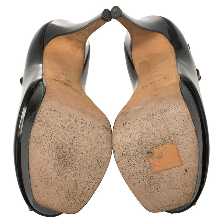 Yves Saint Laurent Black Patent Leather Peep Toe Platform Mary Jane Pumps Size 3 For Sale 2