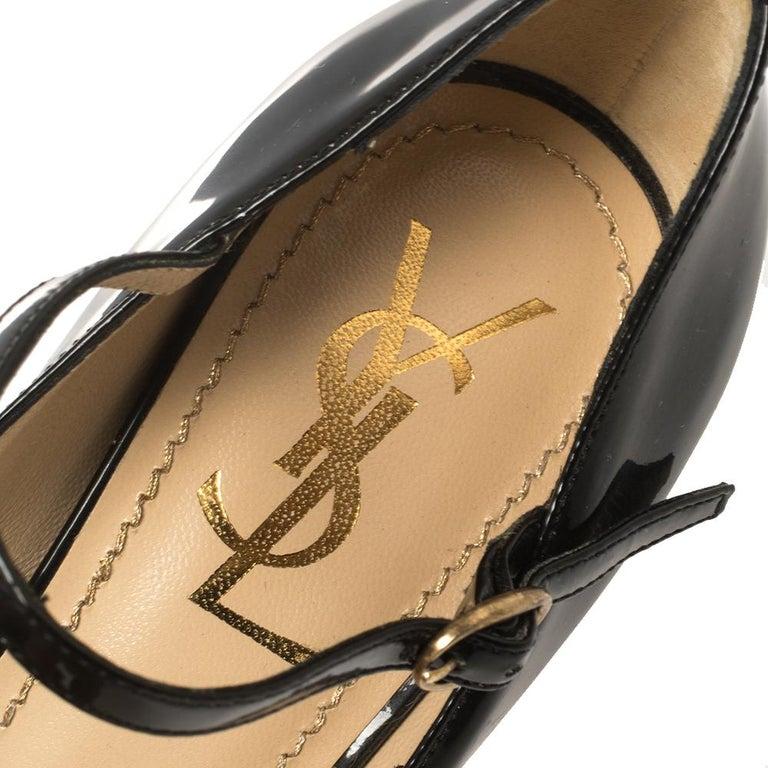 Yves Saint Laurent Black Patent Leather Peep Toe Platform Mary Jane Pumps Size 3 For Sale 3