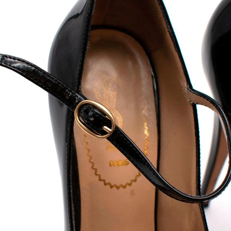 Women's or Men's Yves Saint Laurent Black Patent Leather Platform Mary Janes - Size 35.5 For Sale