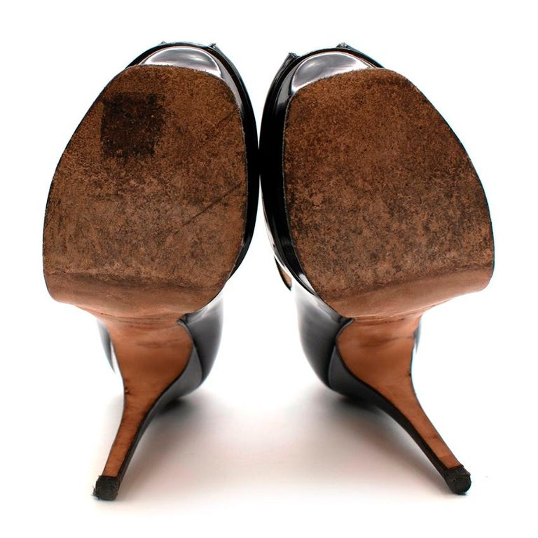 Yves Saint Laurent Black Patent Leather Platform Mary Janes - Size 35.5 For Sale 1