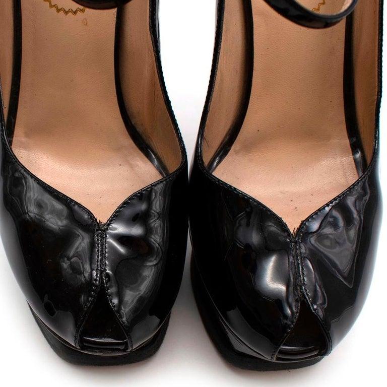 Yves Saint Laurent Black Patent Leather Platform Mary Janes - Size 35.5 For Sale 3
