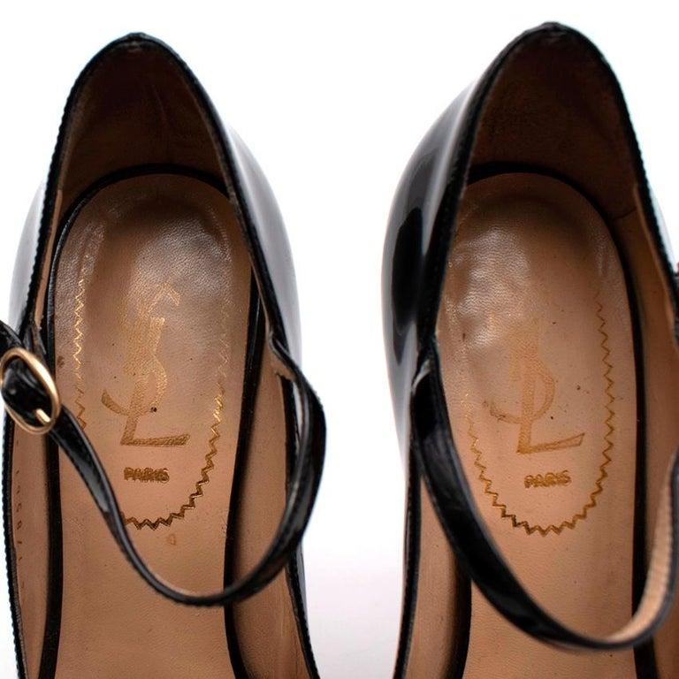 Yves Saint Laurent Black Patent Leather Platform Mary Janes - Size 35.5 For Sale 4