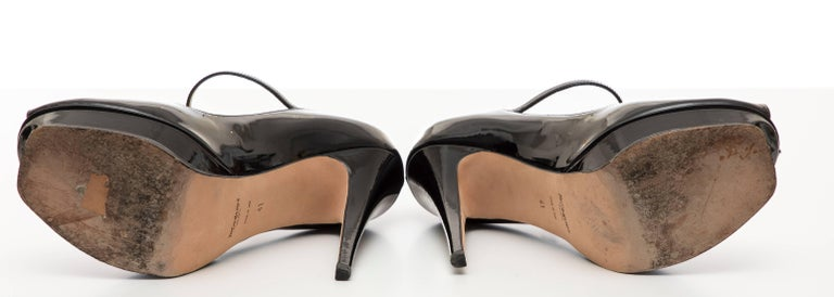Yves Saint Laurent Black Patent Leather Platform Pumps For Sale 6
