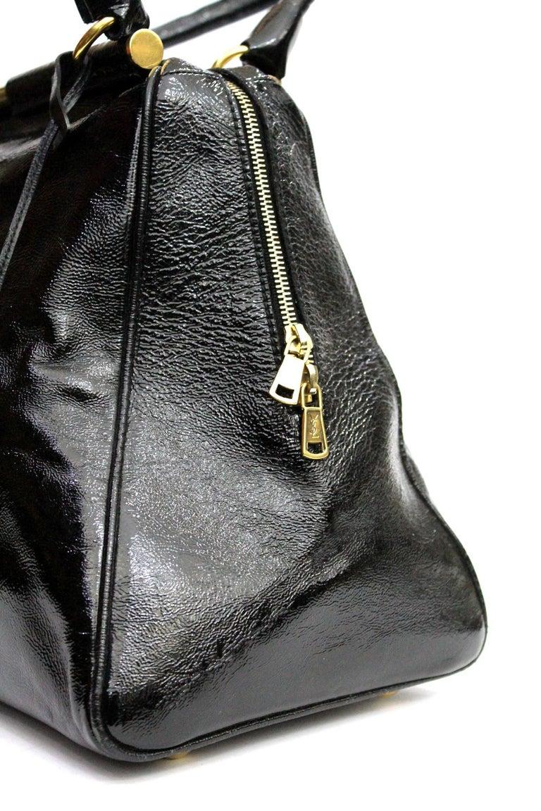 Yves Saint Laurent Black Patent Leather Shoulder Bag For Sale 1
