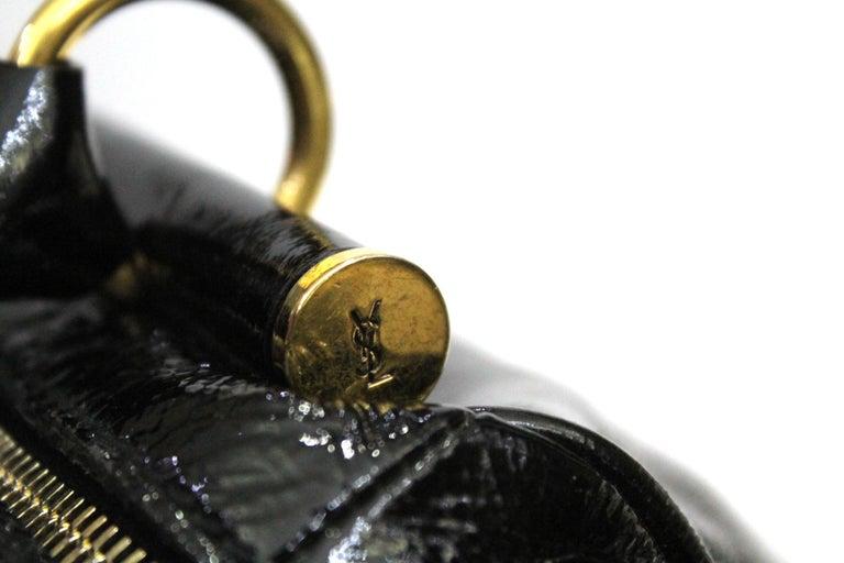 Yves Saint Laurent Black Patent Leather Shoulder Bag For Sale 2