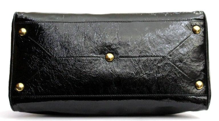 Yves Saint Laurent Black Patent Leather Shoulder Bag For Sale 4