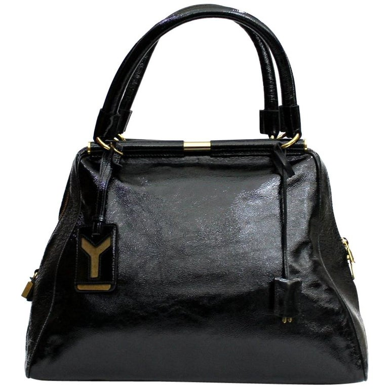 1a4004c0c9d Yves Saint Laurent Black Patent Leather Shoulder Bag