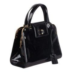 YVES SAINT LAURENT Black Patent Leather UPTOWN Bag HANDBAG Satchel