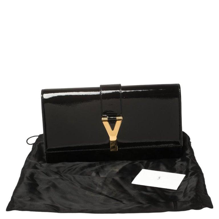 Yves Saint Laurent Black Patent Leather Y-Ligne Clutch For Sale 6