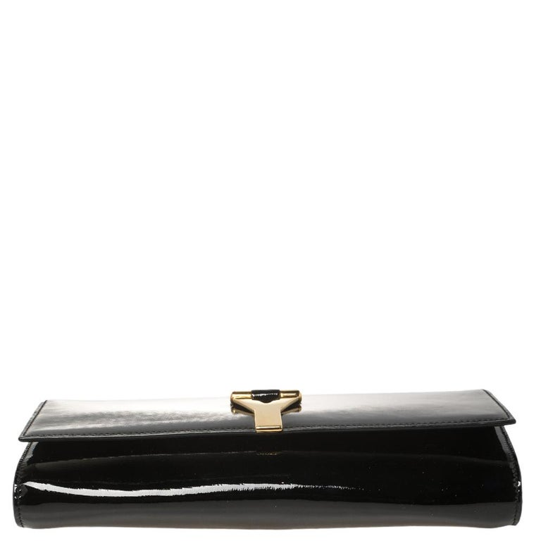 Yves Saint Laurent Black Patent Leather Y-Ligne Clutch For Sale 7