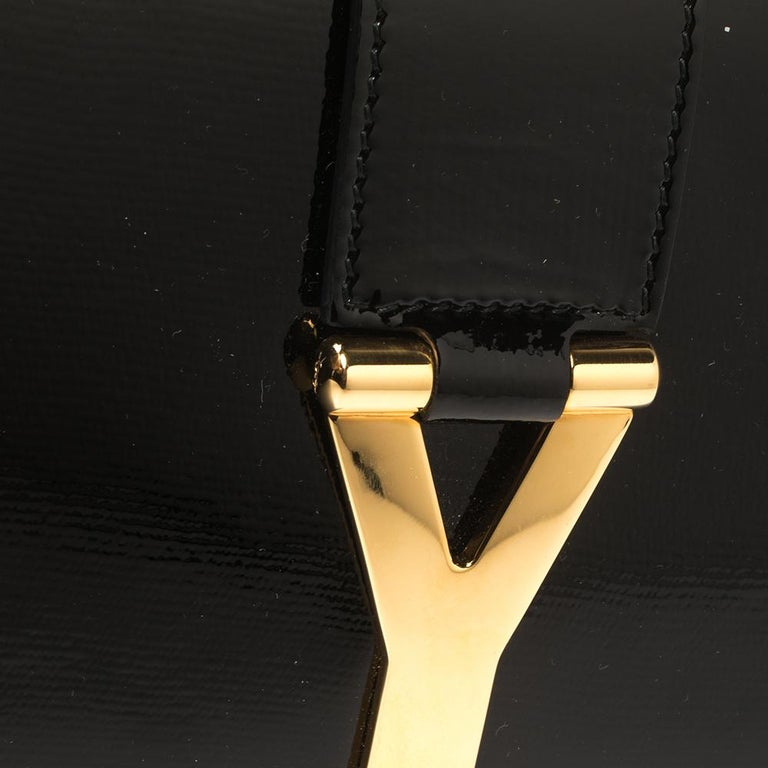Yves Saint Laurent Black Patent Leather Y-Ligne Clutch For Sale 2