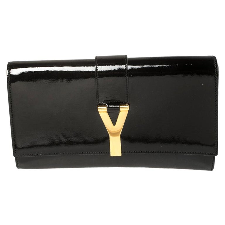 Yves Saint Laurent Black Patent Leather Y-Ligne Clutch For Sale