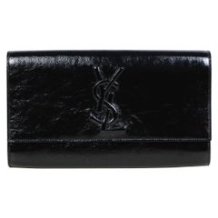 Yves Saint Laurent Black Patent Monogram Large Belle De Jour Clutch Bag