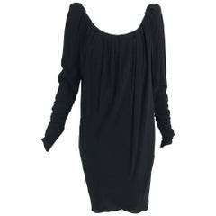 Yves Saint Laurent Black Peaked Shoulder Drape Wrap Dress