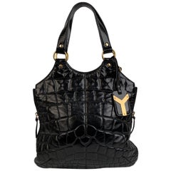 Yves Saint Laurent Black Quilted Croc Look Metropolis Tribute Bag