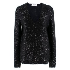 Yves Saint Laurent Black Sequin-Embellished Wool Sweater XS
