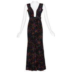 Yves Saint Laurent Black Silk Confetti Dots Plunge Maxi Dress YSL, 1984