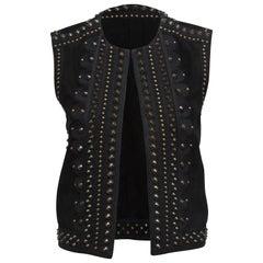 Yves Saint Laurent Black SS 2015 Studded Suede Vest