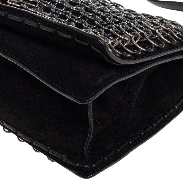 Yves Saint Laurent Black Suede and Leather Chain Link Flap Shoulder Bag For Sale 6