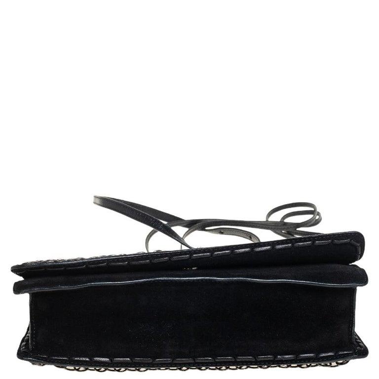 Yves Saint Laurent Black Suede and Leather Chain Link Flap Shoulder Bag For Sale 7