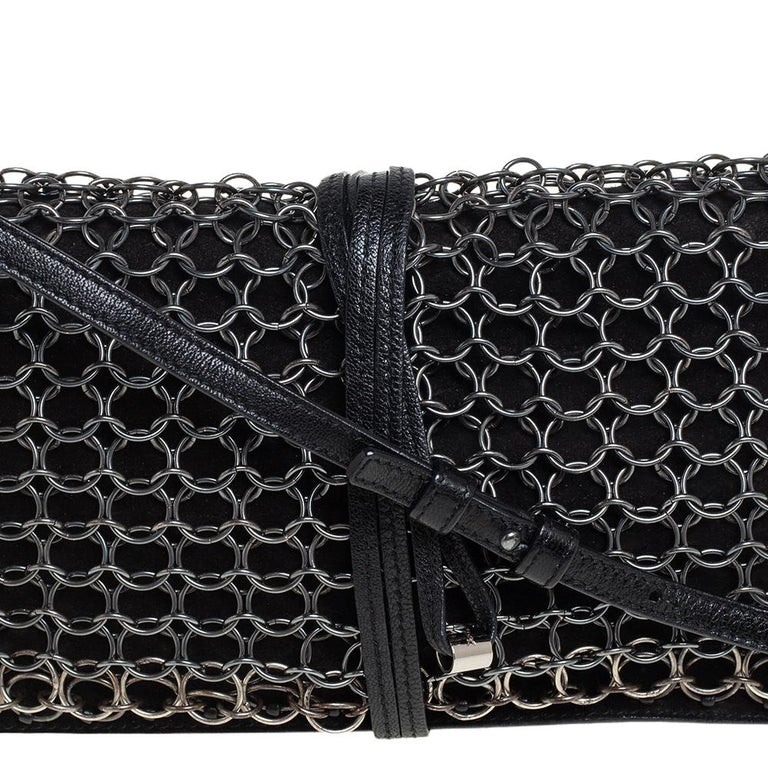 Yves Saint Laurent Black Suede and Leather Chain Link Flap Shoulder Bag For Sale 8