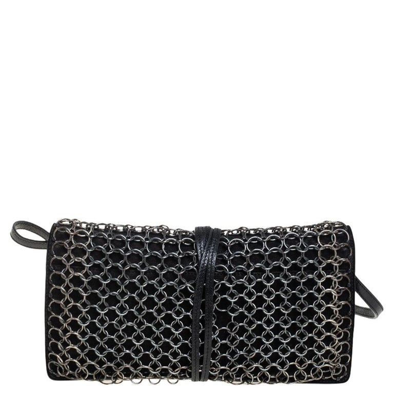 Women's Yves Saint Laurent Black Suede and Leather Chain Link Flap Shoulder Bag For Sale