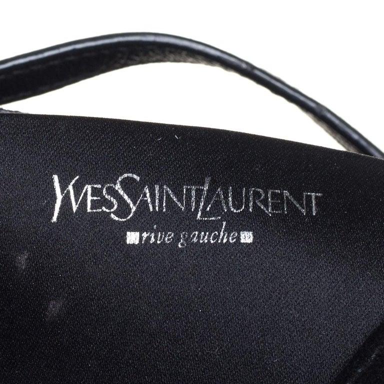 Yves Saint Laurent Black Suede and Leather Chain Link Flap Shoulder Bag For Sale 1