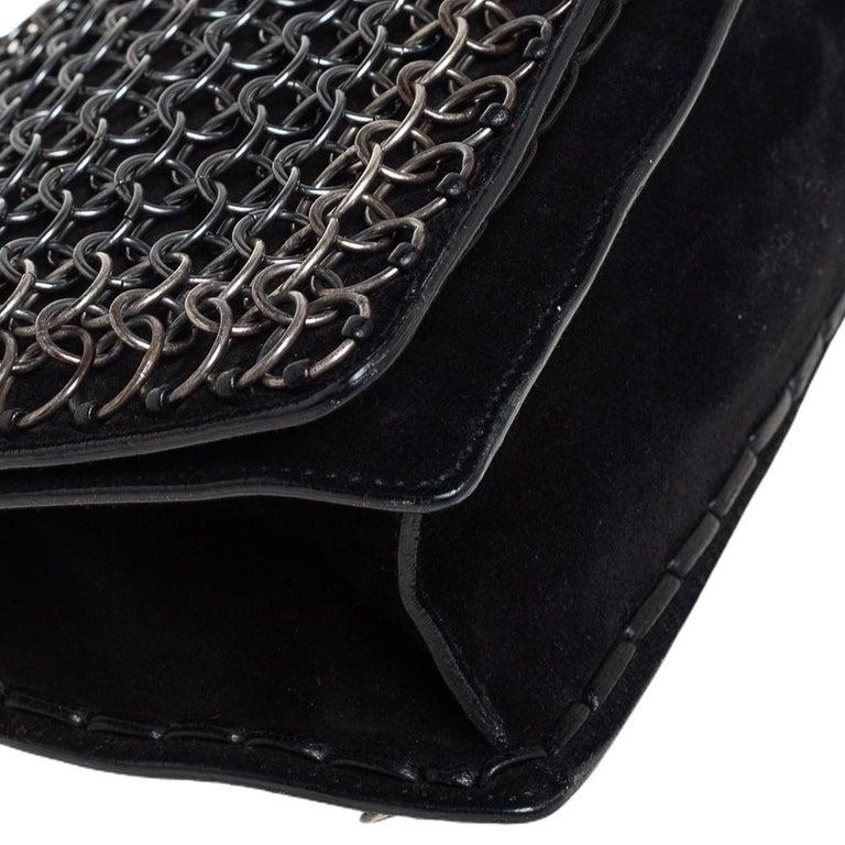 Yves Saint Laurent Black Suede and Leather Chain Link Flap Shoulder Bag For Sale 3