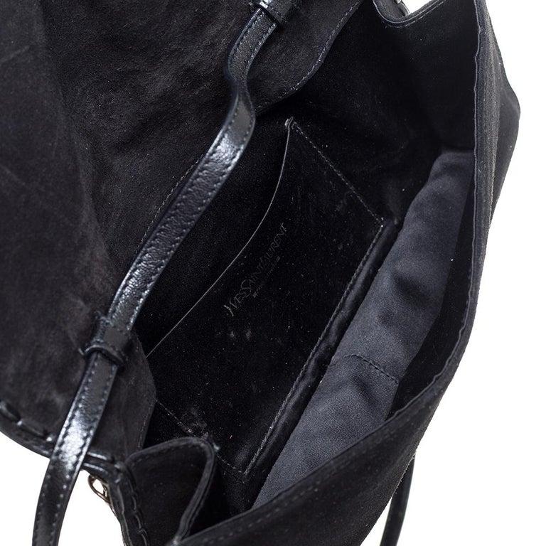 Yves Saint Laurent Black Suede and Leather Chain Link Flap Shoulder Bag For Sale 5