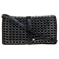 Yves Saint Laurent Black Suede and Leather Chain Link Flap Shoulder Bag
