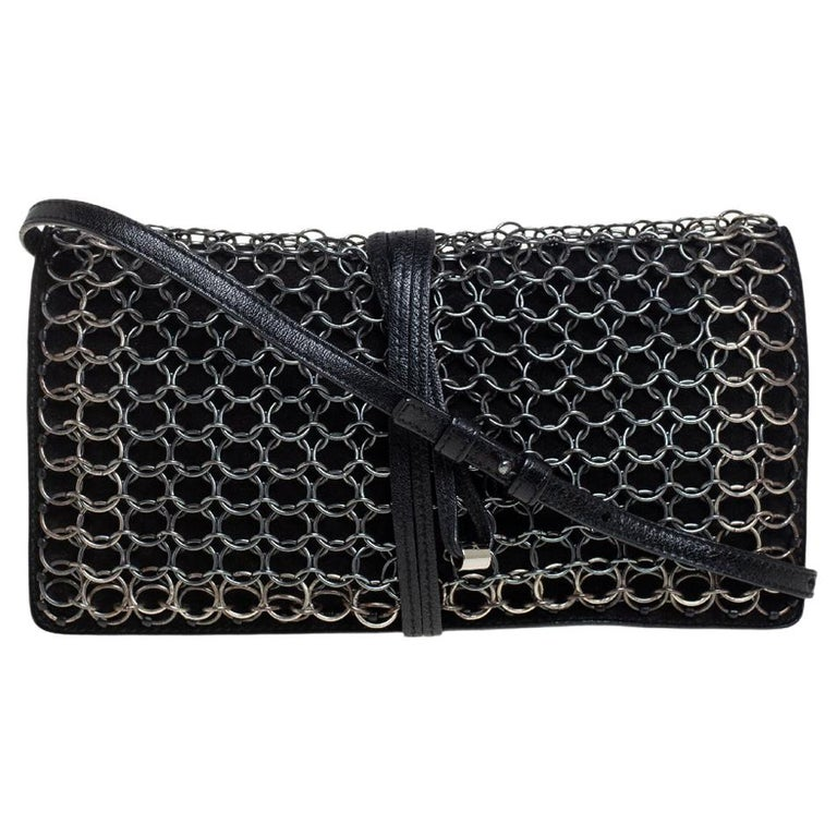 Yves Saint Laurent Black Suede and Leather Chain Link Flap Shoulder Bag For Sale