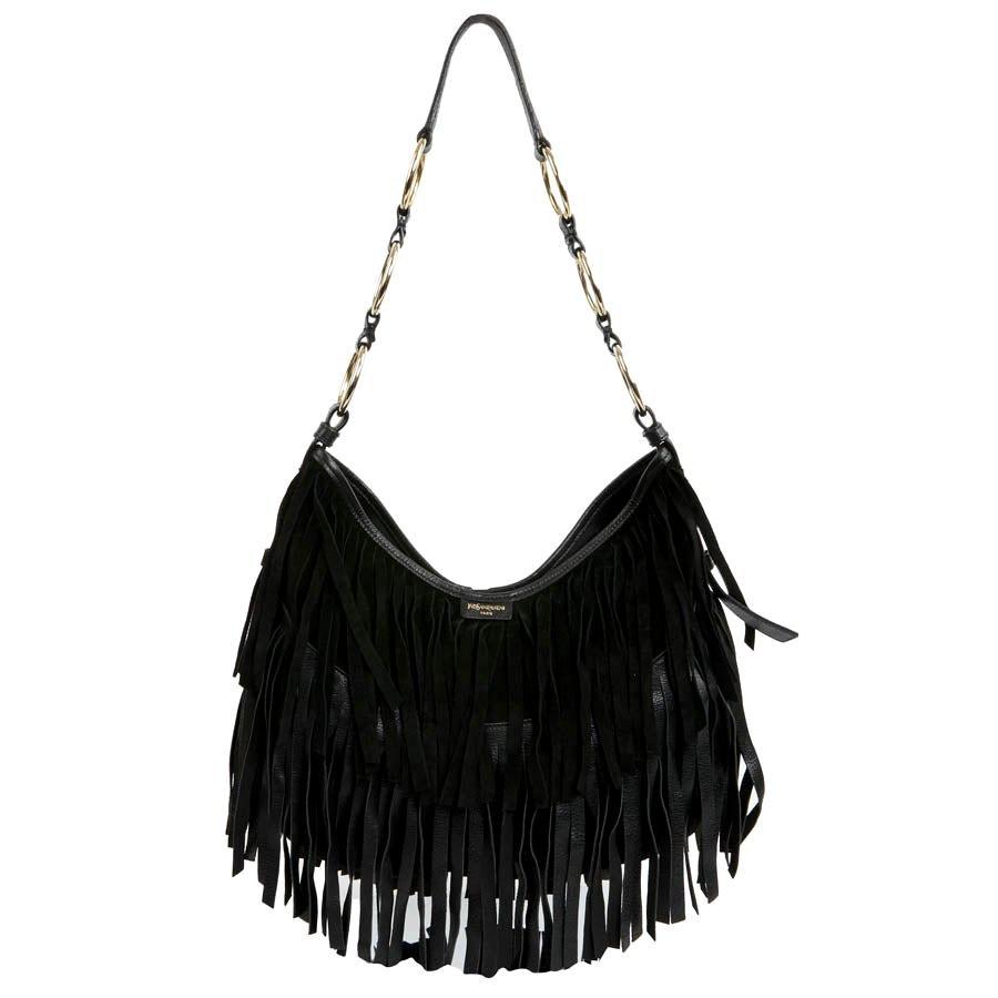 Yves Saint Laurent Black Suede Fringe Bag