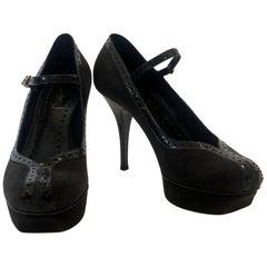 """Yves Saint Laurent Black Suede Platform & Patent Trim """"Tribute"""" Mary Jane Pumps"""
