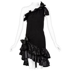 Yves Saint laurent Black Taffeta Ruffle One Shoulder Bow Dress YSL, 1990s