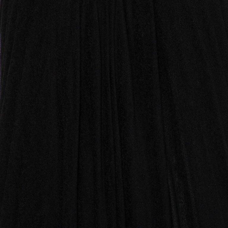 Yves Saint Laurent Black Terry Halter neck Maxi Dress XL In Excellent Condition For Sale In Dubai, Al Qouz 2