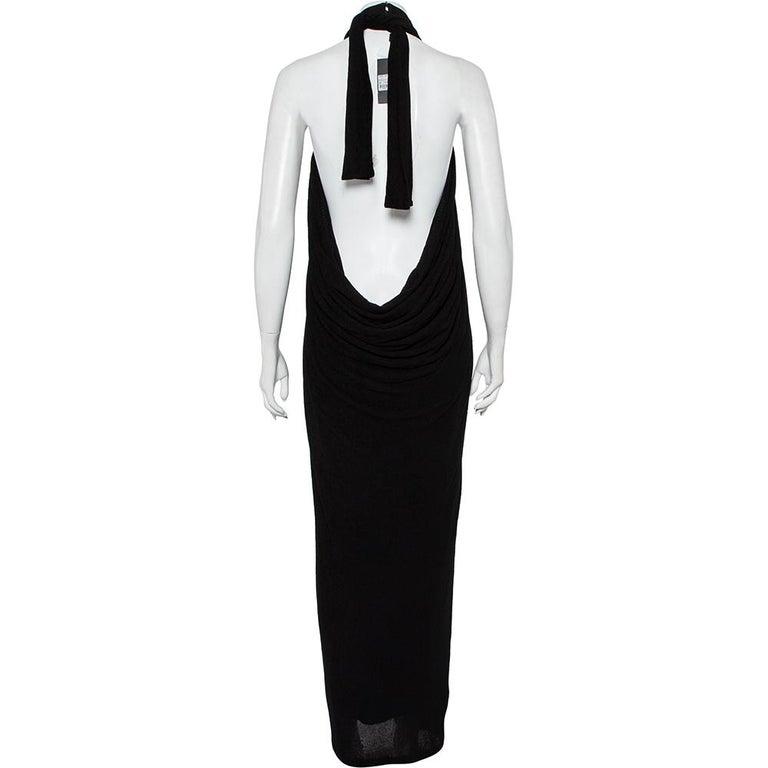 Yves Saint Laurent Black Terry Halter neck Maxi Dress XL For Sale 1