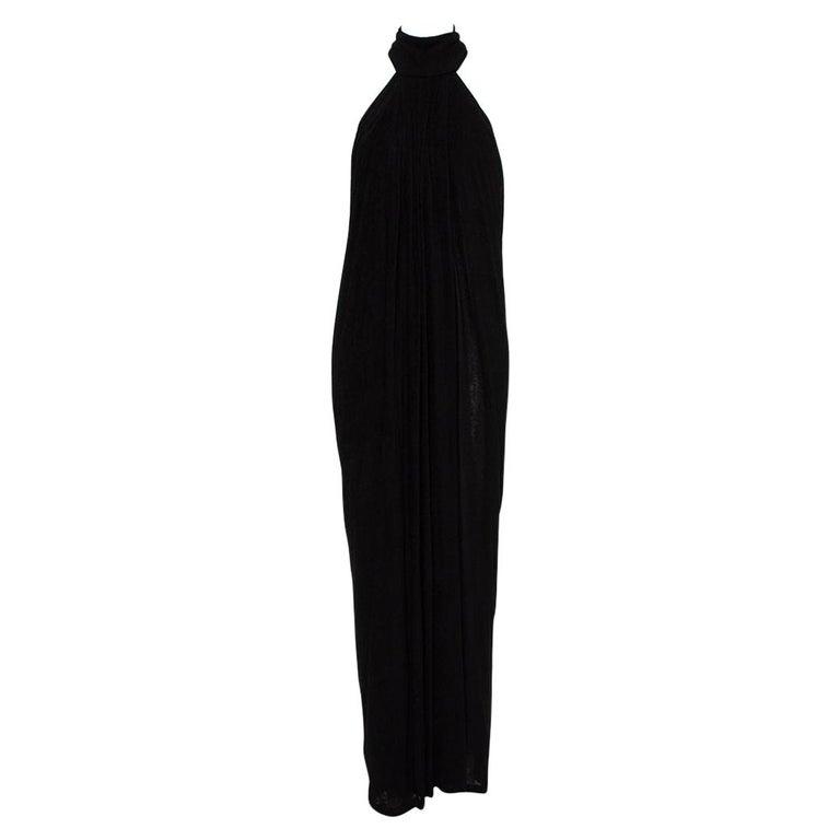 Yves Saint Laurent Black Terry Halter neck Maxi Dress XL For Sale