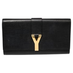 Yves Saint Laurent Black Textured Leather Y-Ligne Clutch